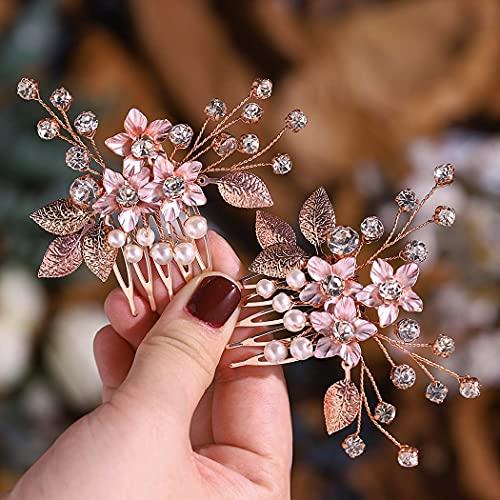 Aukmla Peineta para novia con diseño de flores, color oro rosado, con cristales, para mujeres y niñas