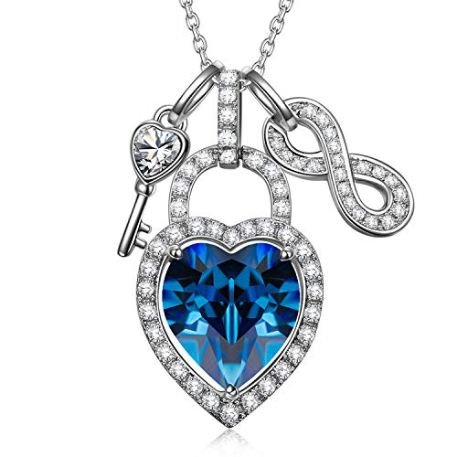 Alex Perry Jewellery for Her, Open Your Heart 925 Sterling Silver Lock and Key Necklace Elegant and Charming, Aquamarine Crystal, Crystal from Austria, Adjustable Chain