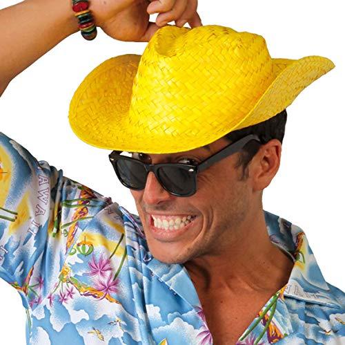 Guirca Farbiger Strohhut für Strand und Party Urlaub Beachparty Sommerhut Hawaii farbig