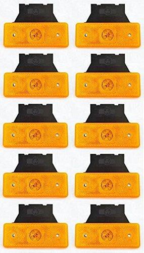 10 stuks barnsteen oranje 24V zijmarkeringslichten 4 LED's met armbanden voor aanhangers vrachtwagens vrachtwagens caravans