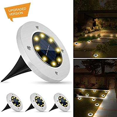 Weepong Solar Disk Lights Outdoor, New Upgrade 8 LEDs Solar Ground Lights, IP65 Waterproof Solar Inground Lights with Light Sensor for Patio Lawn Yard Pathway Driveway Walkway (Warm White,4 Pack)