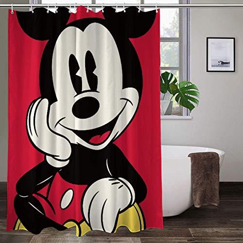 WOMFUI Mickey Mouse Shower Curtain Cartoon Decor Bath Curtain for Bath Room Curtain Decor with 12 Matching Hooks