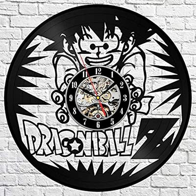 LED de colores Movimiento de reloj de pared de vinilo Reloj de pared de dibujos animados Goku diseño moderno Wukong pegatina coleccionable Reloj de pared de vinilo Retro reloj de pared decor