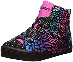 Skechers Kids Girls' TWI-Lites-Wild Cutie Sneaker, Black/Multi, 12 Medium US Little Kid