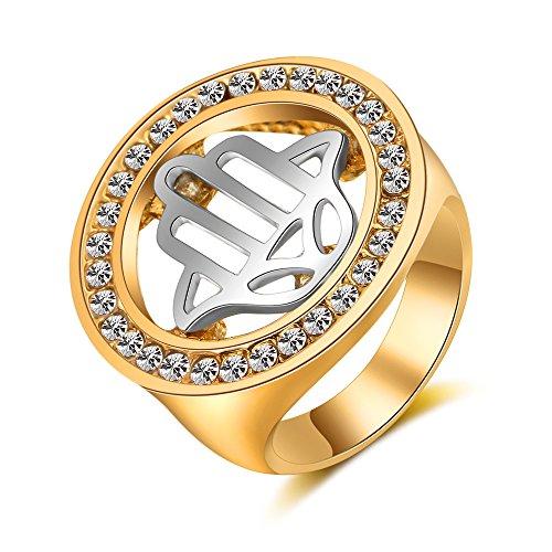 Chandler Anillo de Oro con Diamantes de imitación para Hombre y Mujer, diseño de la Palma de la Mano