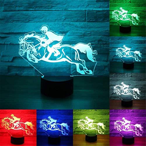 Lámpara de mesa de ilusión 3D para niños, lámpara de mesa de carreras de caballos con control remoto y toque inteligente, regalos para niños niñas de 2 3 4 5 6 7 8 años niños regalos