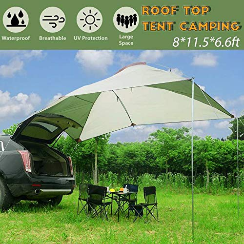 BLJS Outdoor Camping Car Tail Tent Trailer Awning Sun Shelter Auto SUV Awning Canopy Cover Tent Roof Top Camping Peg Brackets Rope,Fiberglass rod