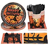 YARNOW Halloween Tableware and Decorations, 24 Guest - Pumpkin Pattern Halloween Plates, Party Cups, Napkins,...