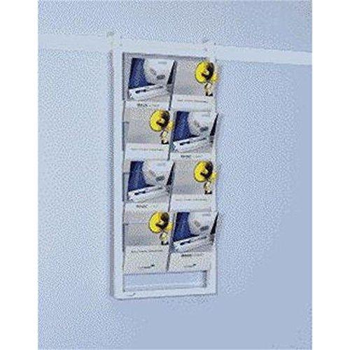 Legamaster 7-305500 Prospektregal für Legaline Professional Wandschienensystem, 8 Fächer aus transparentem Acryl, 50 x 121 cm