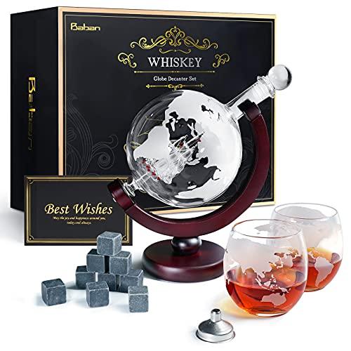 Baban Whisky Decanter Globe, Hommes Carafes à Whisky Set - avec Carafe à Whisky de 850ml, Bouchon en Verre, 2 Verres Gravés, 9 Pierres à Whisky, Entonnoir - Cadeau pour Fête Nationale Française