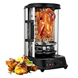 Shawarma Grill Machine, Electric Vertical Broiler Gyro Rotisserie,360°Stainless Steel Detachable Design,Automatic Spinning Big Capacity Roasters Barbecue for Commercial Home Kitchen Restaurant
