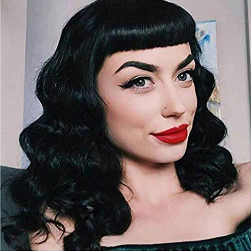 Perruque vintage Audrey Hepburn style Rockabilly, pour femme, bonnet inclus, Noir