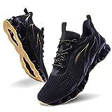 MOSHA BELLE Men Athletic Shoes Mesh Blade Running Walking Sneaker, 4black&yellow, 11.5