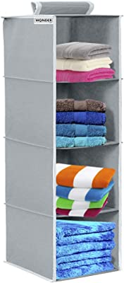 Wonder Cub Hanging Organizer 4 Shelves Wardrobe Organiser - Grey