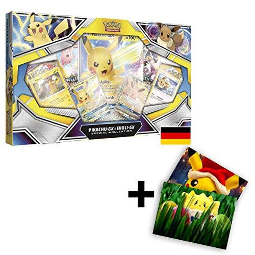 Pokemon Karten Sonne & Mond Pikachu-GX & Evoli-GX Spezial-Kollektion / Spielkarten DE Deutsch / Sammelkarten + Exklusive GRATIS Grußkarte