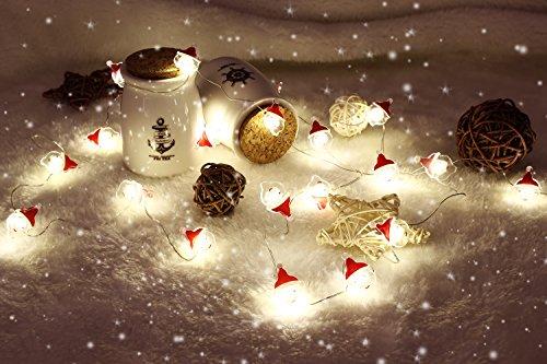 MoKo String Light mit Fernbedienung, 7.8ft 20 LED Batterienbetrieben Feenhaft Licht mit 8 Beleuchtungsmodi 12 Helligkeite für Weihnachtsferien Party Dekoration, Warmweiß und Weihnachtsmann