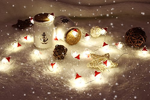MoKo Santa String Light with Remote and Timer, 7.8ft 20 LED Battery Powered Fairy Light with 8 Lighting Modes, 12 Brightness, for Halloween Christmas Festival Parties Bedroom Decor - Warm White