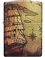 ZIPPO – Stormtändare, piratskepp, 540° färgbild, vit matta, påfyllbar, i presentförpackning av hög kvalitet