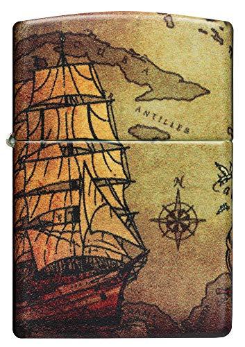 Zippo – Pirate Ship, 540° Color Print – Benzin Sturm-Feuerzeug, nachfüllbar, in hochwertiger Geschenkbox, white matte, normal, 60005661