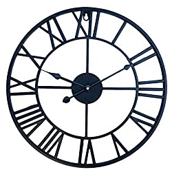 RuiyiF Vintage Wall Clock Non Ticking 16 Inch Silent Industrial Wall Clock Oversized Iron Clocks Large Decorative for Kitchen Living Room Bathroom (Black)