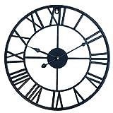 BANDRA Grande Horloge Murale Décorative Vintage 40CM 3D Horloge Murales Silencieuse Chiffres Romains Métal Horloge Murale Cuisine Chambre