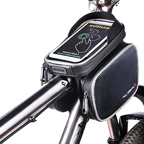BODECIN Fahrrad Rahmentaschen, Wasserdicht Cycling Lenker Quick Release Bike Gepäcktasche Frame Front Top Tube Bike Bag, Double Pouch with Touch Screen Phone Case Below 6,2 inch Cellphone Phone(Grau)