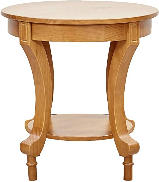 Ravenna Home Traditional Solid Pine End Table 24 W Oak Finish