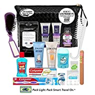 Convenience Kits International, Women's 17 PC Premium Assembled Toiletry Kit Featuring: JOHN FREIDA/JERGENS/BIORE Hair, Face and Body Travel Size Products in Reusable Toiletry Bag