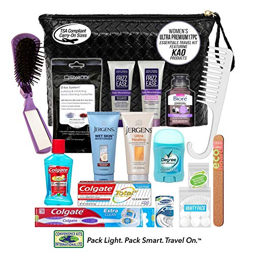 Convenience Kits International, Women's Premium 17Piece Assembled Travel Kit Featuring: John Frieda'S Frizz Ease, Jergens & Biore Products In Reusable Bag, 3 Fl Oz