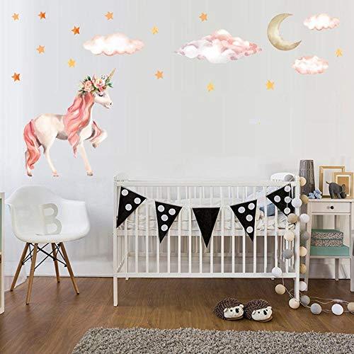 Unicornio mágico colorido Animal caballo estrellas pegatinas de pared niños niña habitación póster papel tapiz decoración del hogar calcomanía de pared