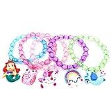 5pc Mermaid Bracelet, Unicorn Bracelet, Little Girl Animal Bracelets, Teens Kids Owl Pendant Beaded Bracelet Girl Party Favor Pretend Play Bracelet (Animal Bracelet)