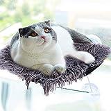 PowerKing Hamaca Ventana de Gato con cojín, Percha de Asiento para Gato para Tomar el Sol en 360 Grados y Paisaje (Pelo Largo Gris)