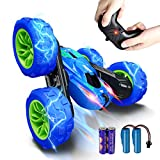 RC Stunt Car for Kids, SHARKOOL 360°Flips Double Sided Rotating 4WD 2.4Ghz Remote Control Car with Sharp Dual-Color Headlights -Best Gift for Over 6 Years Old Kids(All Batteries Included)