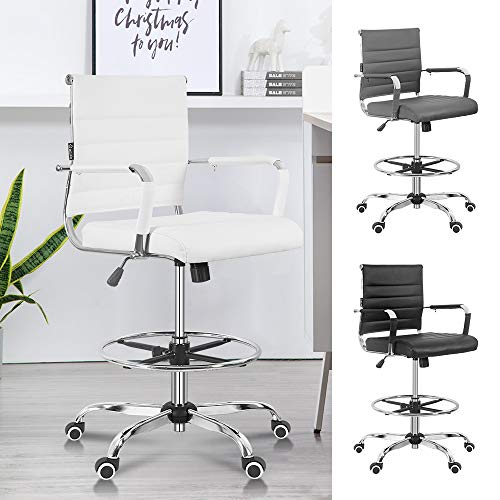 Okeysen Drafting Chair, Ergonomic Tall Office Chair with Adjustable Footrest,Standing Desk Chair with Ribbed Leather Mid Back, Swivel Rolling Desk Stool for Adults. (White)