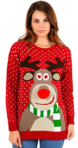 Crazy Girls Womens Rudolph Reindeer Elf Print Snowflake Christmas Jumper - Red -