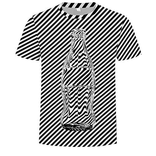 Kiasebu Mens Stripe Wave Point Visual Sense afdrukken Shirt korte mouw T-shirt Blouse Tops