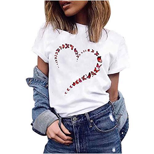 Damen T Shirt Kurzarm Sommer Casual Elegant Schmetterling Herz gestalten Rundhals Oberteile Vintage Basic Tops Lose Tunika Pullover Sportshirt Langarmshirt Hemd Bluse für Frauen Teenager Mädchen