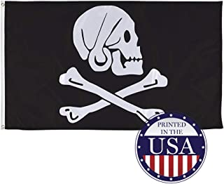 Vispronet Pirate Flags Jolly Roger Collection – Captain Avery 1694-1696 Skull and Cross Bones – 3ft x 5ft Knitted Polyester and Flame-Retardant Flag – Made in The USA