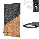 flat.design Handy Hülle Evora für Ruggear RG150 handgefertigte Handytasche Kork Filz Tasche Case fair dunkelgrau