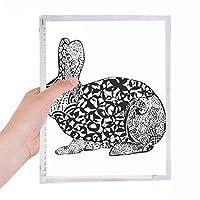かわいいウサギの動物脂肪の肖像画のスケッチ 硬質プラスチックルーズリーフノートノート