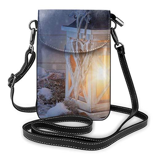 Handy Geldbörse Crossbody Laterne Schnee Frauen Pu Leder Mode Handtasche mit verstellbarem Riemen