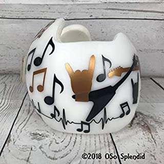 CECILIAPATER Rock and Roll Music Band Themed - Personalized Cranial Band Decals - Helmet Stickers - Musical Notes Hits