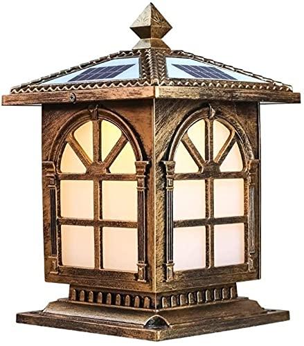 Lámpara solar grande para jardín al aire libre, poste de luz con control remoto, aluminio vintage, LED, luz de pilar resistente al agua, exterior, paisaje, terraza, calle, lámpara de columna cuadrada