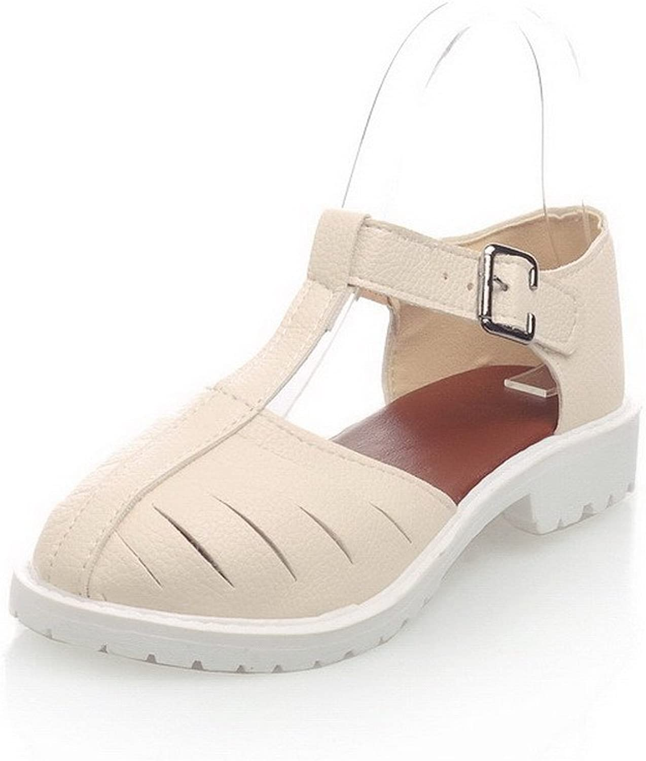 WeiPoot Women's Low-Heels Solid Buckle Soft Material Closed Toe Sandals