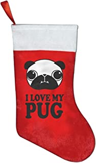 NYSOUVENIRS I Love My Pug Christmas Stocking Festival Party Ornaments
