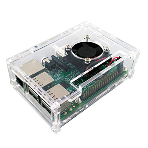 Raspberry Pi 2/3 Model Acrylic Shell Transparent Case Cover With Fan Cooler