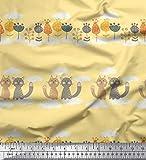 Soimoi Gelb Baumwolle Ente Stoff Blumen, Wolken & Katze
