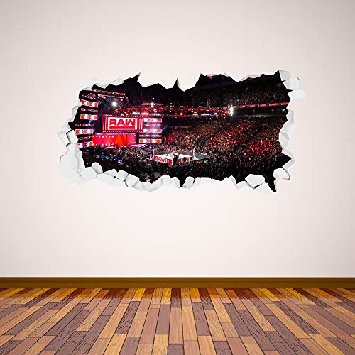 WWE Wall Sticker Raw Arena Smashed Wall Decal Vinyl Kids Mural Art Wrestling (120cm Width x 60cm Height)