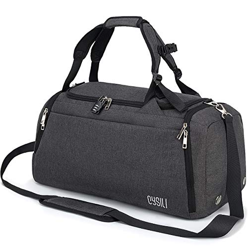 CySILI Sports Duffle Bag with Shoes Compartment and Wet Pocket, Gym Bag for Men and Women, Durable Travel Duffel Bag with Shoulder Strap and Combination Lock (Dark Grey)