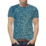 O2ECH-8 Männer Bohimia T. Shirt Jugendliche Shirt, Dunkelblaue Mandala Sommer Freizeit - Streifen Muster Atmungsaktiv und Bequem Hemd White s